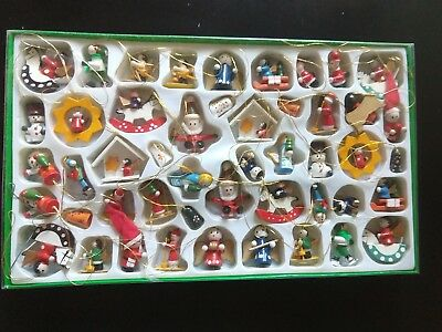 Huge Lot of Vintage Hand Painted Miniature Wooden Christmas Ornaments in Box