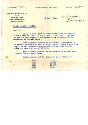 Old letter re investing with John Ismay & Sons ltd Ilford 1934 gas mantles