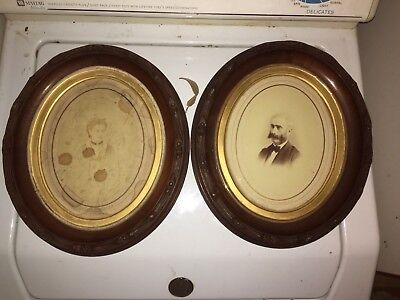 Matching Pair Carved Antique Victorian  Oval Deep Walnut Frames 12 1/4 X 14 1/4