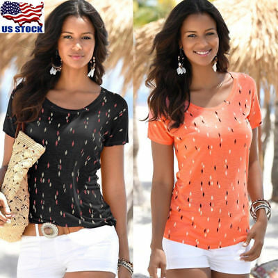 Fashion Womens Short Sleeve Loose Top Blouse Summer Beach Casual Tops T-Shirt US