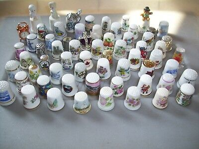 Vintage Thimble Collection Lot Of 64  Wide Variety