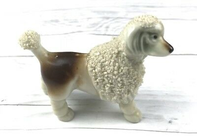 Vintage Ceramic Porcelain Poodle Dog Figurine Statue Japan 1950's Signed