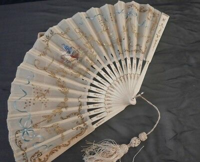 Stunning 19Th Century Hand Painted And Beaded Fan With Box