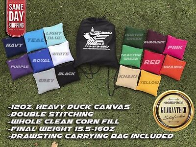 """FREE SHIPPING! Set of 8 6""""x6"""" Premium Solid Color Corn Filled Cornhole Toss Bags"""
