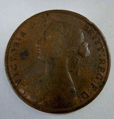 1861 Great Britain 1/2 Penny Copper Coin - Young Queen Victoria