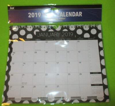 2019 WALL MONTHLY 11X9 Hanging SPIRAL Calendar PLANNER - Black & White DOTs SALE