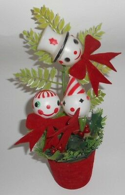 Vintage Christmas Artifical Plastic greenery w/ Snowman potted plant Decoration