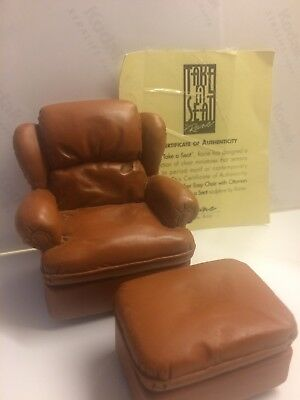 Take A Seat by Raine Minature Easy Chair+Ottoman c.1980,for display/dolls house