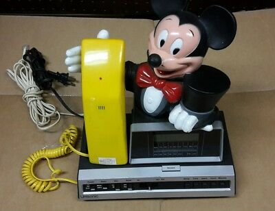 Vintage Disney Mickey Mouse Clock Radio Push Button Telephone