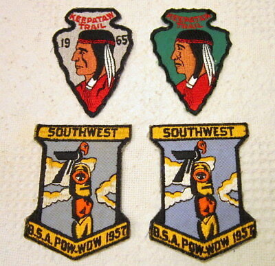 Vintage Lot of 4 BOY SCOUT PATCHES 1950's-60's - Southwest Pow-Wow,Keeptaw Trail