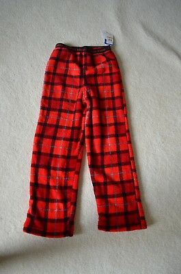 Boys Size M 7/8 CALVIN KLEIN Red Plaid Fleece Sleep Pajama Pants NWT