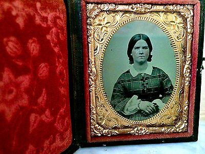 Ambrotype Rare Woman/plglass Plate Photo ~1854-1860