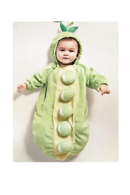 Hyde and Eek! Hooded Plush Pea Pod Bunting Halloween Costume 0-6 Months NWT