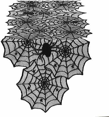"Halloween Haunted House Party DECORATIONS 74"" Black Lace Spiderweb Table Runner"