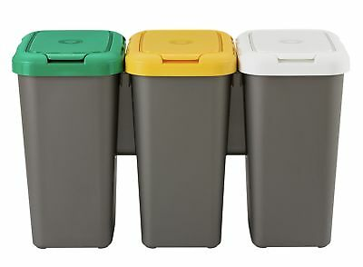 HOME Set of 3 Recycling Bins - Multicoloured.