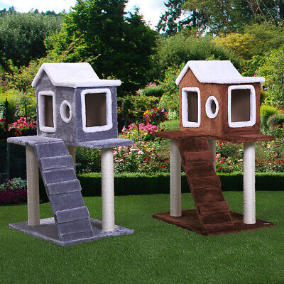"""36"""" Pet Cat Tree Play House fluffy Condo w/ Scratching Posts Climbing Ladder"""