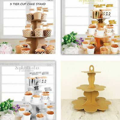 GOLD - SILVER - BROWN Cardboard Card Cupcake Stand Cup Cake Lolly Buffet Table
