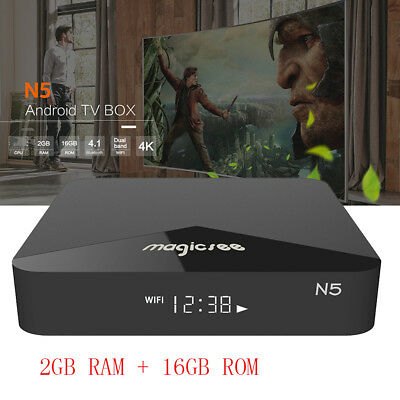 MAGICSEE N5 BT4.1 4K H.265 2G+16G UK 100Mbps Dual Wifi Android 7.1 TV OS TV Box