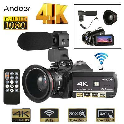 NEWEST WiFi 4K HD 24MP 30X ZOOM Night Vision Digital Video Camera Camcorder DV