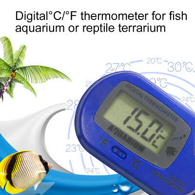 LCD Digital Fish Aquarium Thermometer Water Terrarium +FREE Extra S#