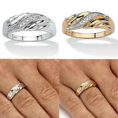 18K Yellow Gold  Male Crystal Diamond Twisted Band Ring Promise Ring Charm