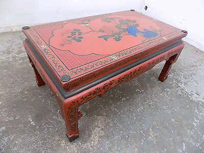 oriental,painted,floral,red,coffee table,glazed top,low table,vintage,chinese