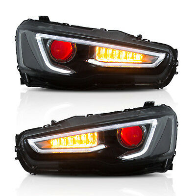 Headlight For 2008-2017 MITSUBISHI LANCER/EVO X LED Black Housing Demon Eye