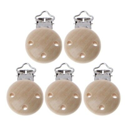 5Pcs Metal Wooden Baby Pacifier Clips Infant Soother Clasps Holders Accessories