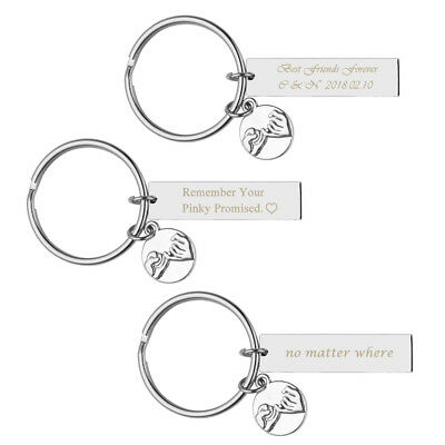 Text Engraved Keychain Pinky Promise Charm Rectangle Keyring Friend Couple Gift