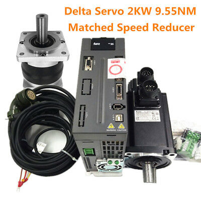 Delta CNC 2KW AC Servo Motor 9.55NM Driver&Speed Reducer Matched 4:1-100:1 Ratio