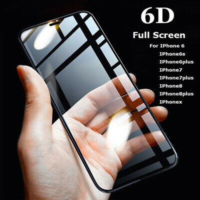6D Full Cover Edge Curved Tempered Glass For iPhone 6 7 8 X Screen Protector ES
