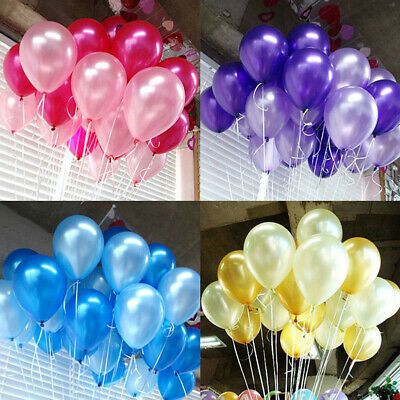100 PZ Compleanno Matrimonio Baby Shower Palloncini Lattice Party Pearl 10""