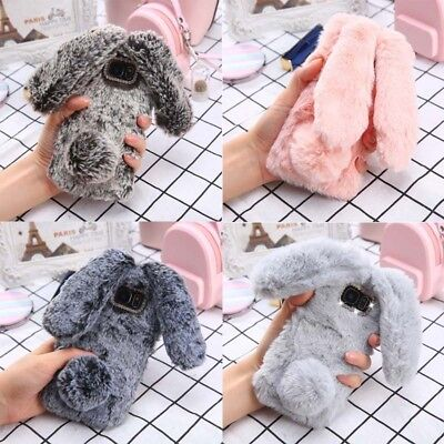 Phone Back Case Fluffy Rabbit Fur Silicone Mobile Shell for iPhone 8 /Samsung S9