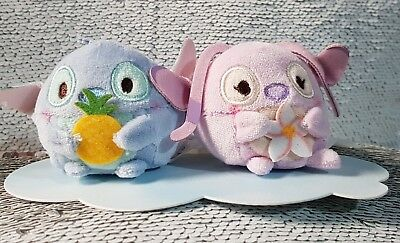 Small Stitch and Angel Ufufy Pair Disney Store UK BNWT Lilo Pineapple Scented