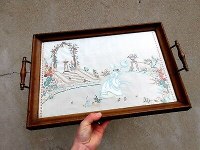 Vintage Brass & Wood Embroidered Drink Serving Tray with Handles - Garden Scene