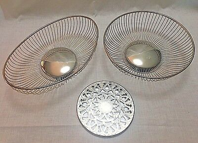 Vintage MCM Silver Plate Bread Baskets and Trivet Italy Eales 1779 Oval Round