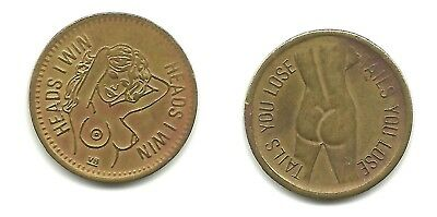 1-Vintage Heads I Win Tails You Loose Woman Flip Coin/Token Naked Free Shipping