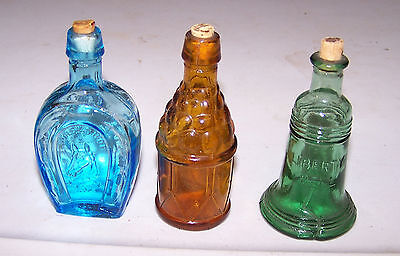 3 Miniature Bottles Blue Horseshoe Amber Drum Green Liberty Bell