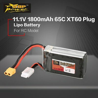 ZOP Power 11.1V 1800mAh 65C 3S Lipo Battery XT60 Plug For RC Helicopter Model CP