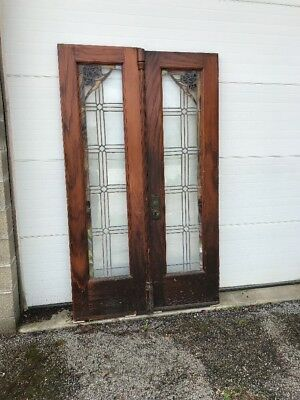 MAR225 match Pair antique double doors stained glass 4' x 80.5