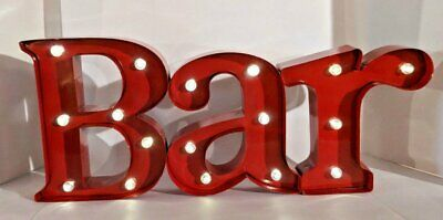 LIGHTED METAL BAR SIGN MARQUEE - RED with LED LIGHTS - Battery powered!