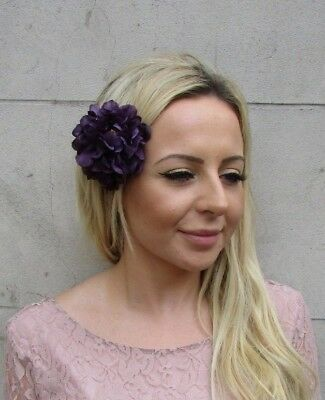 Double Dark Purple Peony Rose Flower Hair Clip Fascinator Races Wedding 6100