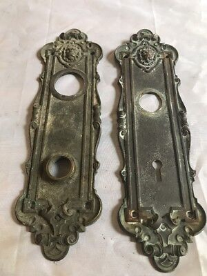 "Pair ""Leyden"" Eastlake Victorian Antique Brass Door Plate Backplate Hardware"