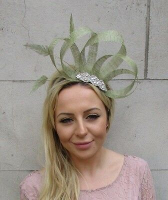 Sage Light Olive Green Silver Sinamay Feather Hair Fascinator Wedding Races 6105