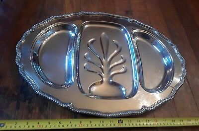 Vintage Antique 22 inch Large Silver on Copper Silverplate Meat Platter Tray