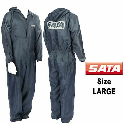 Genuine Sata 143255 Large [L] Grey Paint Overalls Elasticated Wrists/Ankles