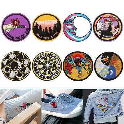 Embroidery Sew Iron Patch Badge Transfer Fabric Bag Jeans Applique Craft DIY RS