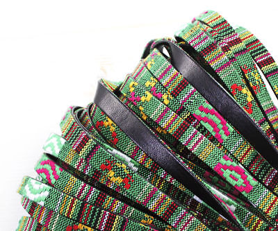 2yrd 1.8m Multicolor Green Pink Yellow Red Black Cotton PU Faux Leather Cord ...
