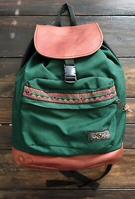 Vintage 90s JanSport Backpack Brien Drawstring Aztec Leather Bottom  Southwestern 79ee21a0ff836