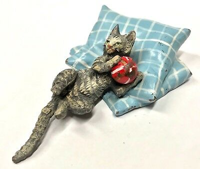 Antique Austrian Cold Painted Bronze Cat On Pillow With A Ball Style Of Bergman